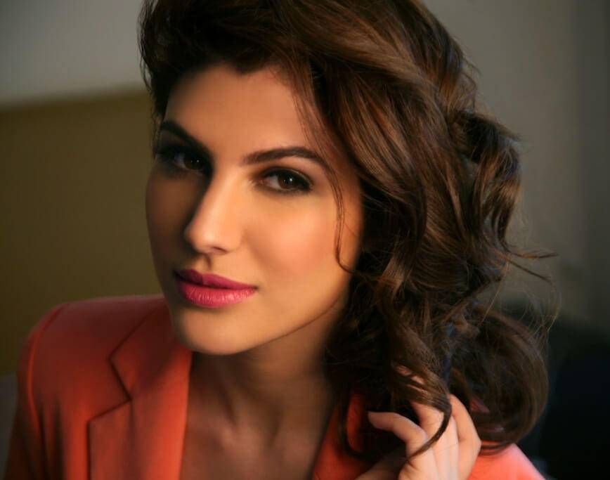 Elnaaz Norouzi International Actress Red Top Red Lips