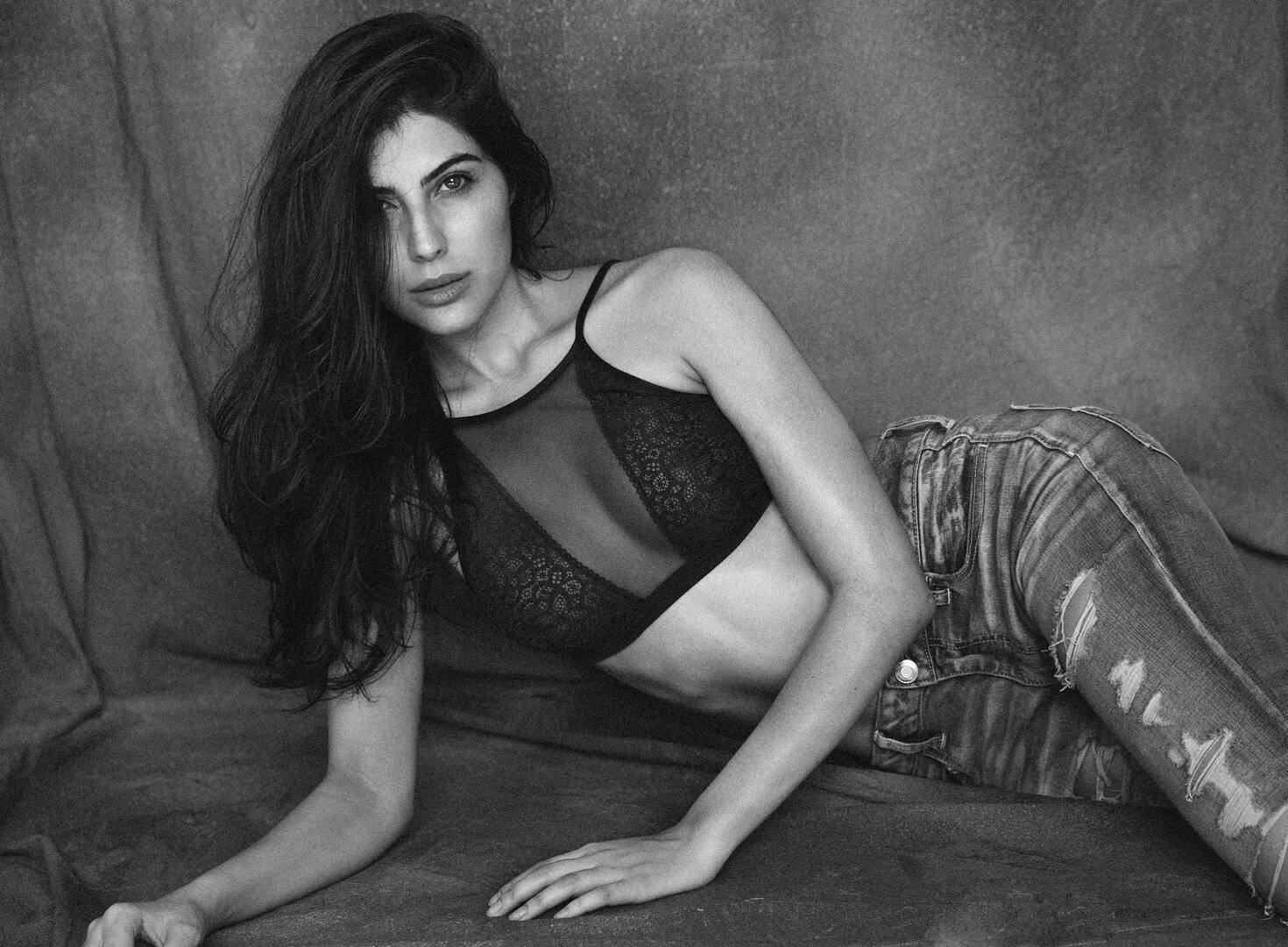 Elnaaz Norouzi Modelling Black Lingerie Denim