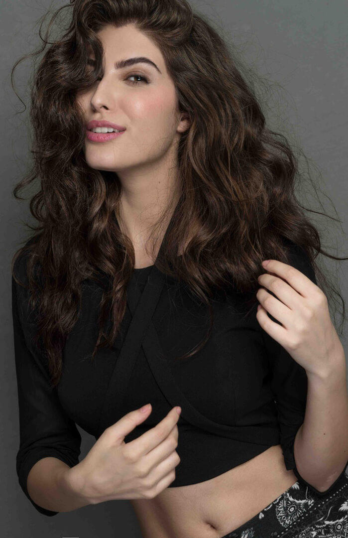 Elnaaz Norouzi Modelling Black Sexy Top Smiling