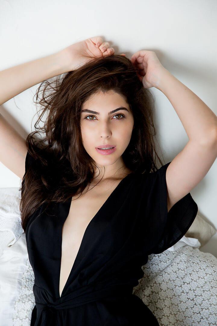 Elnaaz Norouzi Modelling Iranian Black Sexy Top Smiling