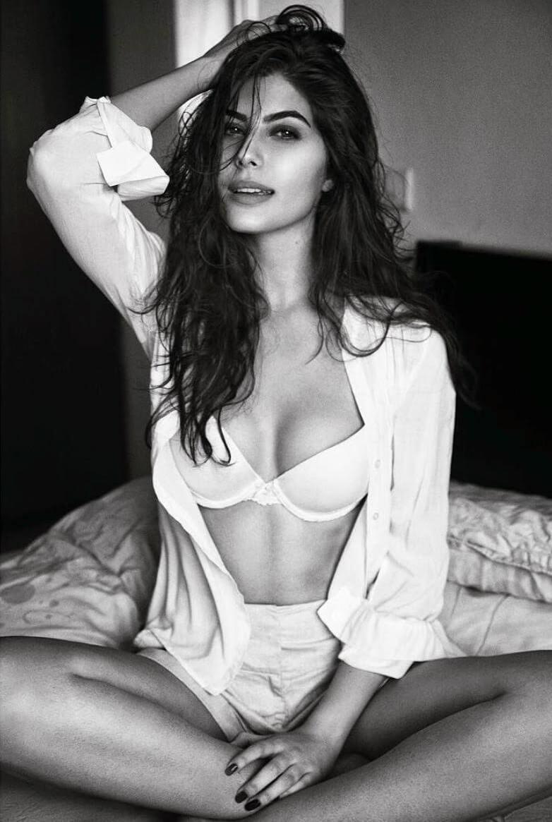 Elnaaz Norouzi Modelling Lingerie White Bra