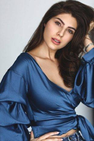 International Model Elnaaz Norouzi Blue Top Photoshoot