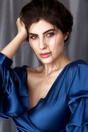 Model Elnaaz Norouzi Blue Top Photoshoot