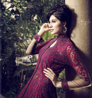 Model Elnaaz Norouzi Indian Look Red Dress